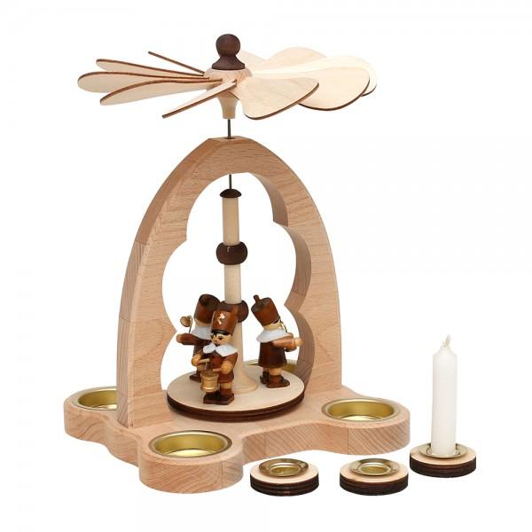 Holz Teelicht-Tischpyramide Bergleute für 4 Teelichte inkl. 4 Pyramidenkerzen-Adapter (Buchenholz) 16 x 18 x 24 cm