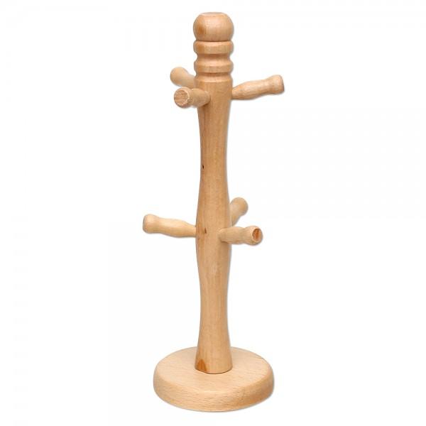Holz Tassenständer mit 6 Haken, natur 10,5 x 10,5 x 32 cm