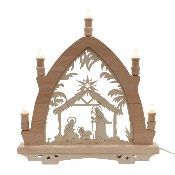 Holz Leuchterbogen Krippe Made in Germany (mit Laserfuß) 41 x 6 x 45 cm 230 V Kabel, 5 flammig, SPK