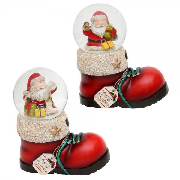 Polyresin Nikolausstiefel mit Schneekugel & Weihnachtsmann 2-fach sort. 7,5 x 4,5 x 9 cm Ø 4,5 cm im Set