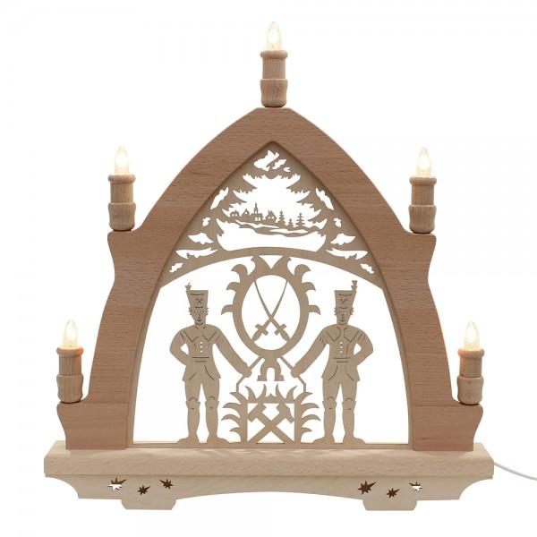 Holz Leuchterbogen Bergmann Made in Germany (mit Laserfuß) 41 x 6 x 45 cm 230 V Kabel, 5 flammig, SPK