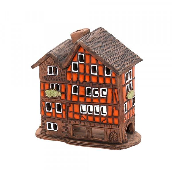 Keramik Lichthaus Fachwerkhaus orange 9 x 4,5 x 9 cm