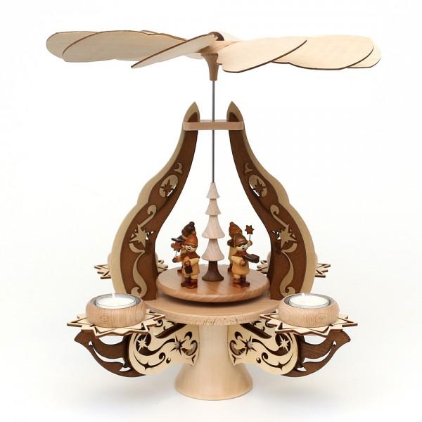 Holz Leuchterpyramide Kurrende natur/braun, edel verziert, für 4 Teelichte 28 x 28 x 39 cm
