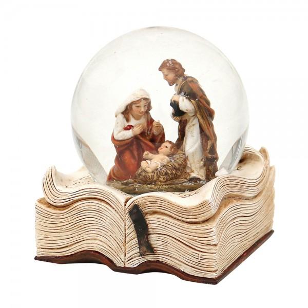 Polyresin Schneekugel Heilige Familie auf Buch 7,5 x 7 x 9 cm Ø 6,5 cm