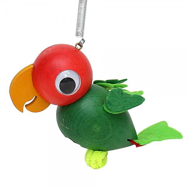 Holz Figur Papagei mit Sprungfeder, grün 5 x 9 x 9 cm