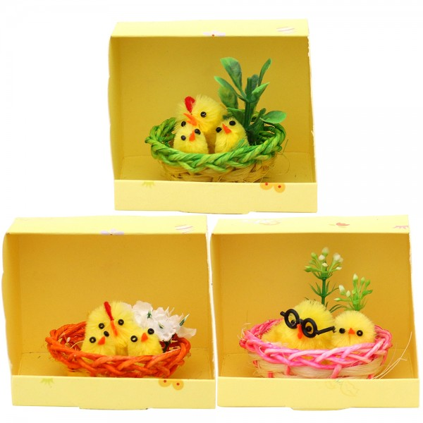 Kunststoff Küken Familie im Nest (Chenille) 3-fach sort. 8 x 7 x 6 cm im Set