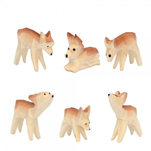 6er Set Holz Rehe geschnitzt mit braunem Rücken 3,5 x 0,8 x 3,5 cm