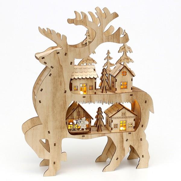 Holz Rentier mit Winterlandschaft 32 x 5,5 x 24 cm Batteriebetrieb AAA, LED