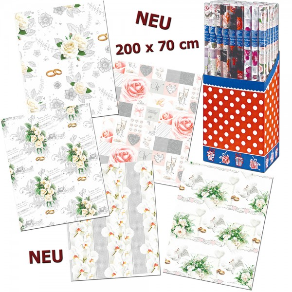 Papier Geschenkpapier Rolle Hochzeit (50er Display) 70 x 200 cm