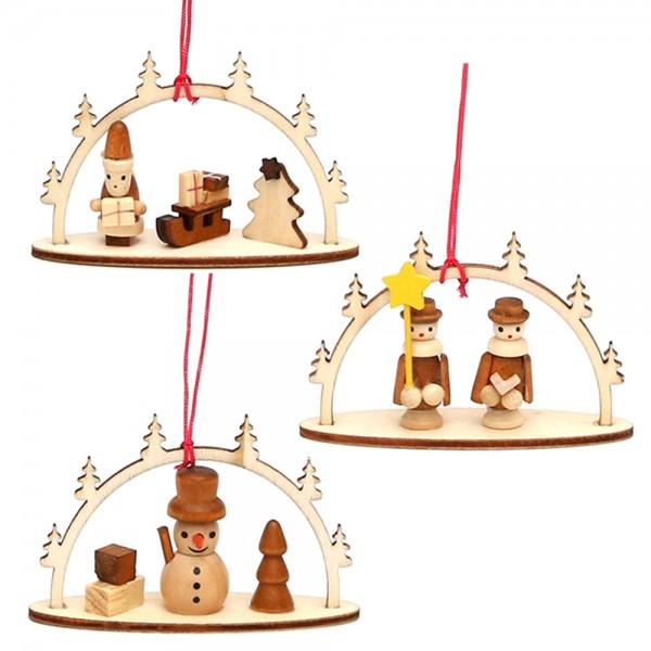 Holz Anhänger Schwibbogen natur mit Figuren 3-fach sort. 8 x 2,5 x 5 cm im Set