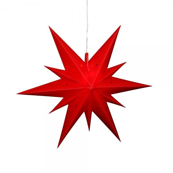 Kunststoff Falkensteiner Adventsstern Fensterstern 11 Spitzen zum Aufklappen, rot 60 x 19 x 60 cm inkl. Adapter 4,5 V, LED, wetterfest/für außen geeignet