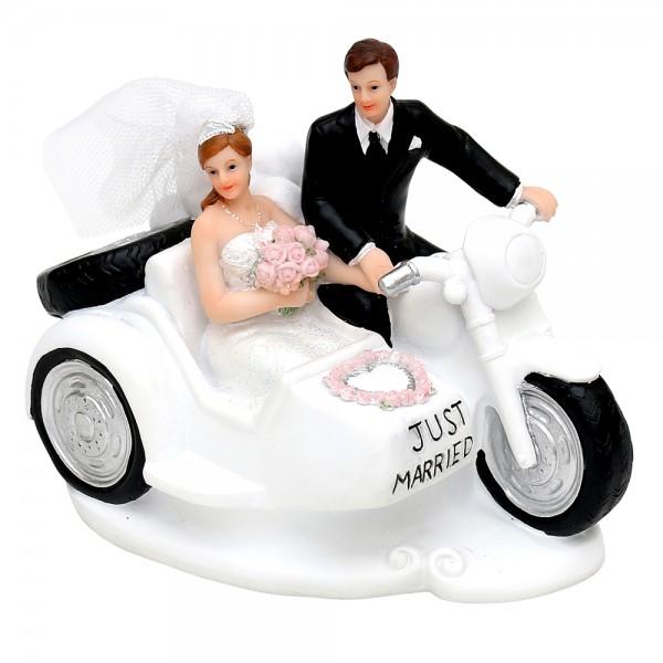 Polyresin Brautpaar mit Seitenwagenmaschine 13,8 x 8,7 x 11 cm