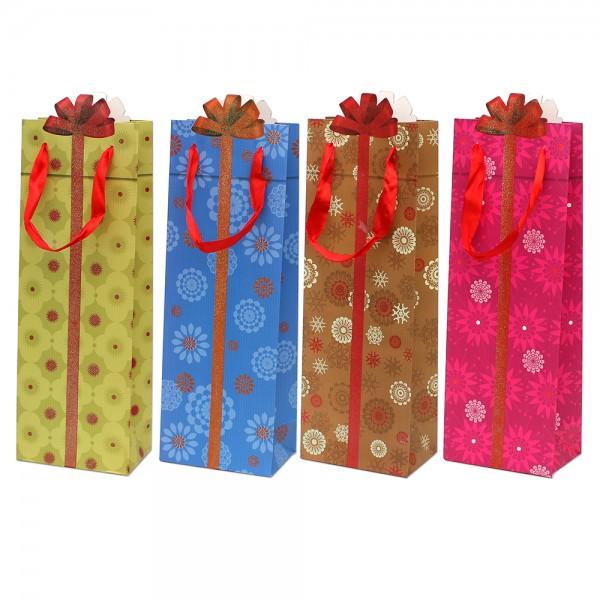 Papier Flaschentüte Geschenk mit Glitter 4-fach sort. 12,8 x 8,4 x 36 cm im Set