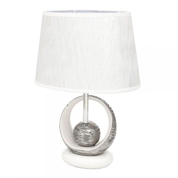 Keramik Tischlampe Elegance Kreis mit Kugel, weiß/silber 26,5 x 19 x 37,5 cm 230 V Kabel, E27