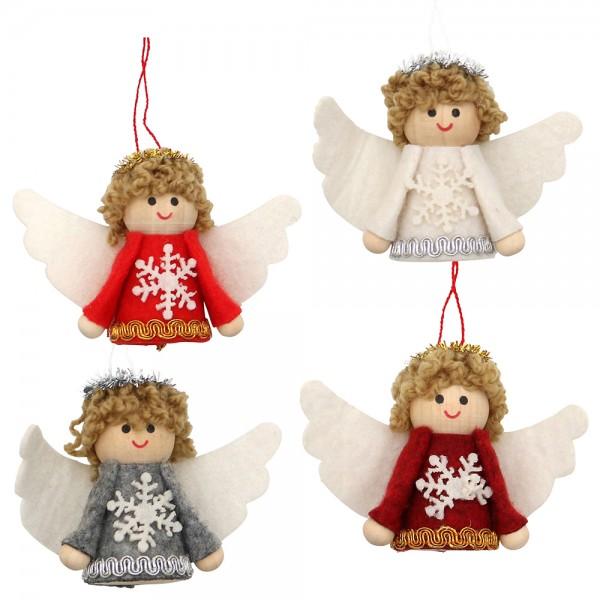 Textil Engel mit Anhänger rot/weiß/weinrot/grau mit Schneeflocke 4-fach sort. 3 x 2 x 7 cm im Set
