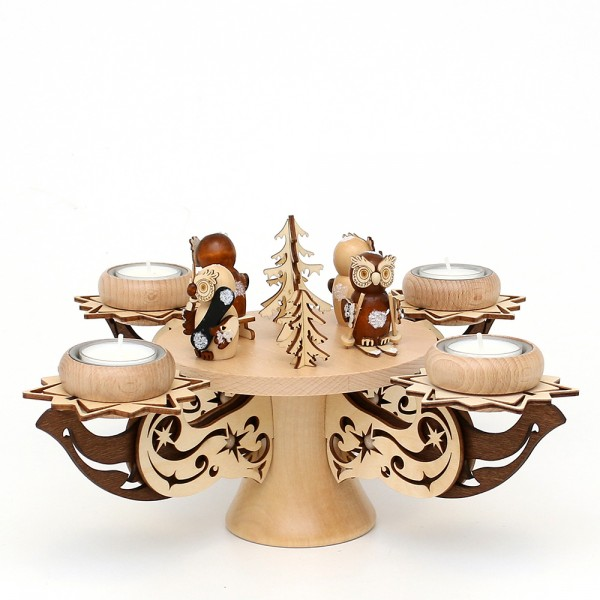 Holz Adventsleuchter Eulenwald, natur/braun, edel verziert, für 4 Teelichte 28 x 28 x 27 cm