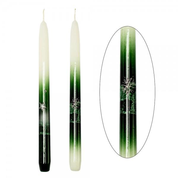 Leuchterkerzen Weihnachtsglanz tannengrün 2-fach sort. 2,2 x 2,2 x 29 cm im Set