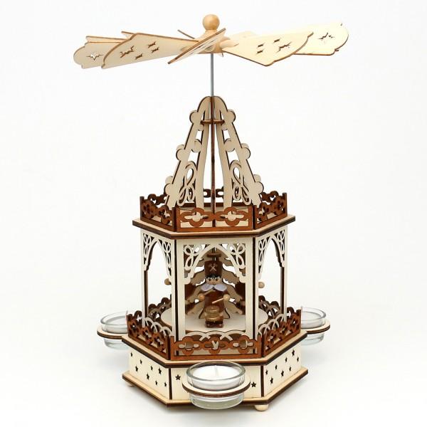 Holz Teelichtpyramide Bergleute 2 Etagen (Laserholz) für 3 Teelichte 16,5 x 14,5 x 33 cm