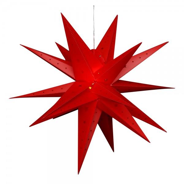 Kunststoff Falkensteiner Adventsstern 18 Spitzen zum Aufklappen, rot 80 x 80 x 80 cm inkl. Adapter 4,5 V, LED, wetterfest/für außen geeignet