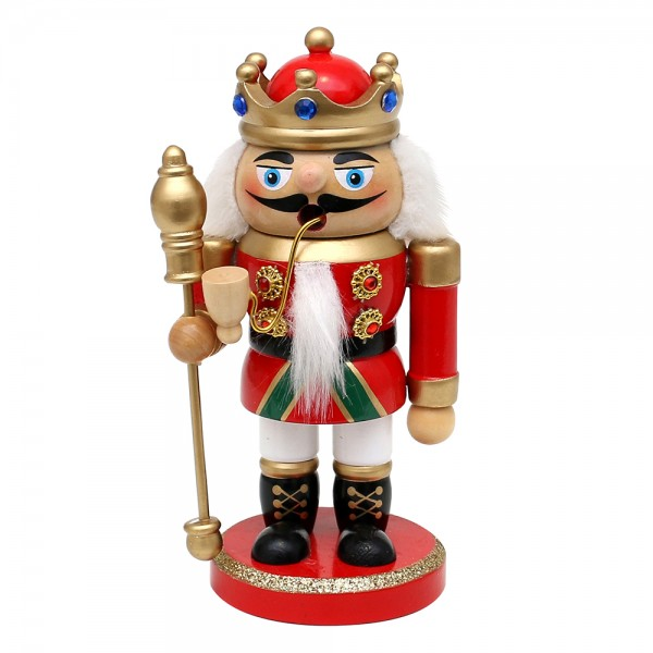 Holz Räuchermann Nussknacker - König rot/weiß 8,5 x 7,5 x 17 cm