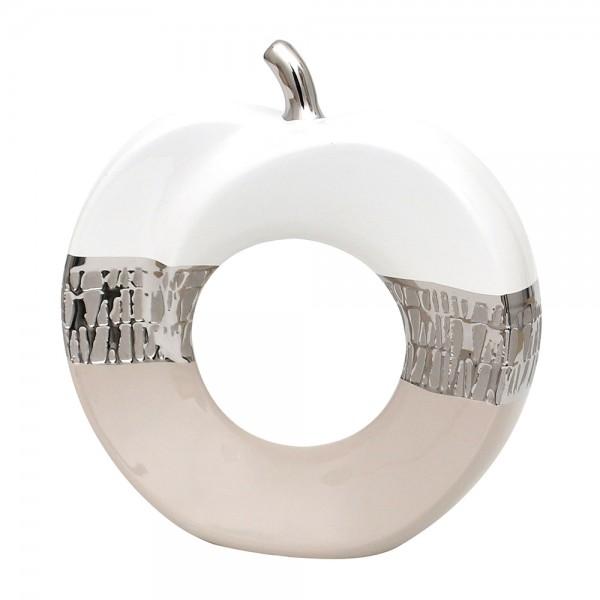 Keramik Apfel Cappuccino silber/weiß 26 x 8 x 27 cm