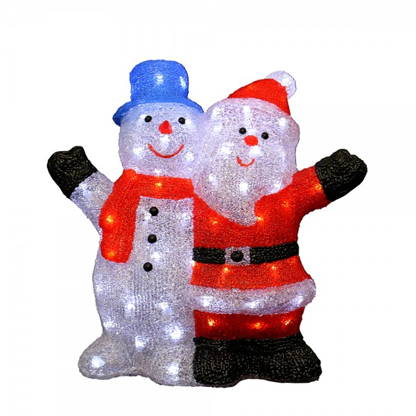 Acryl LED Santa- und Schneemann 40 x 17 x 39 cm Netzanschluss 5 V, LED